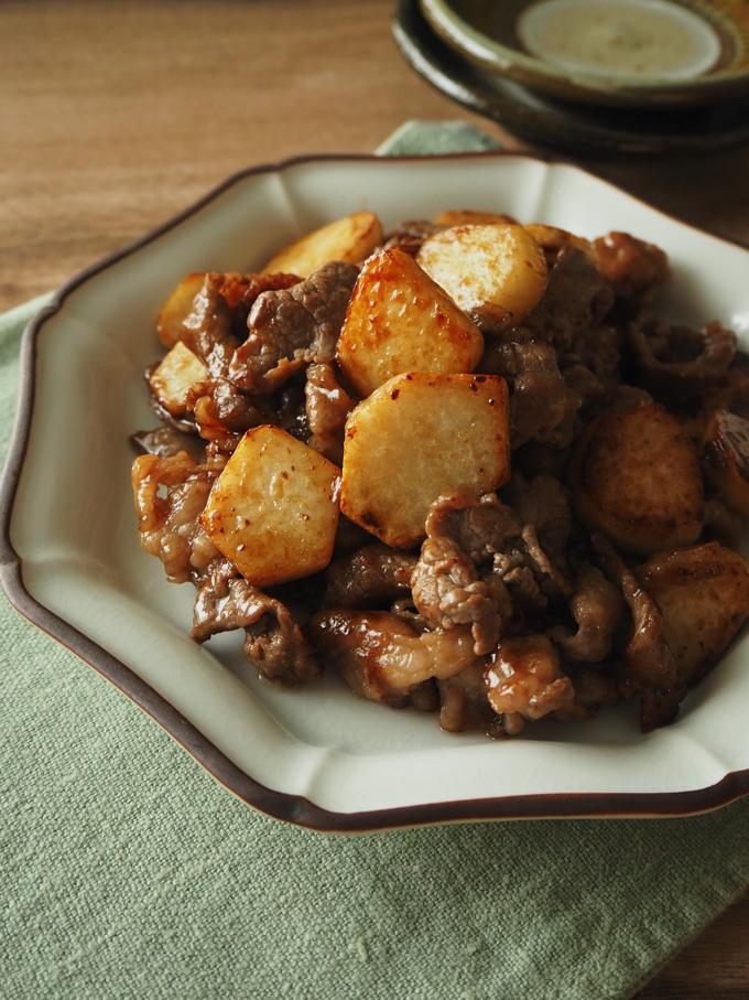 里芋と牛肉の炒め