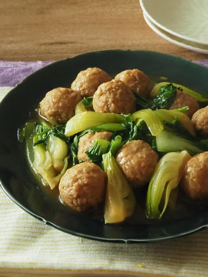 青梗菜と肉団子の甘酢煮こみ